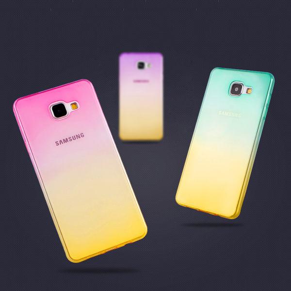 【SZ】三星 Galaxy A7 2015雞尾酒系列手機殼 彩虹透明背蓋 漸變保護套 TPU手機套 清透保護殼 軟殼
