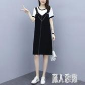 大碼女裝2020年夏季新款背帶裙韓版寬鬆氣質假兩件A字口袋連身裙子 LR23175『麗人雅苑』