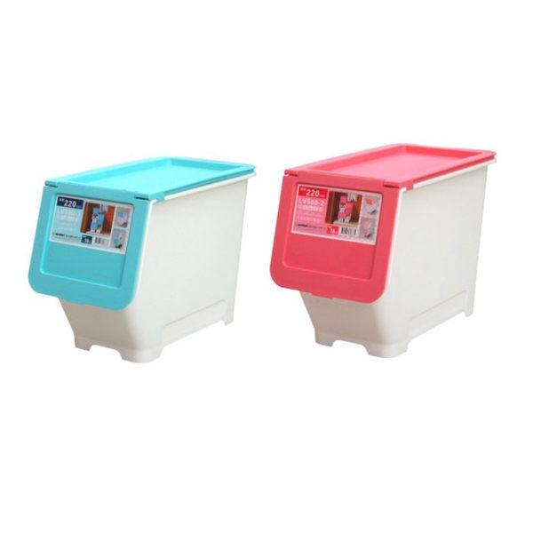 馬卡龍直取式收納箱 16L (中) 12入裝 免運 掀蓋式整理箱 重疊架 收納籃 置物籃 LV-500 [百貨通]