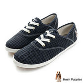 Hush Puppies 毛呢千鳥格咖啡紗帆布鞋-深藍