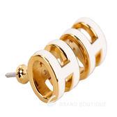 HERMES Pop H LOGO 經典圓弧設計耳環(白色x金) 1820410-03