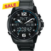 【限時搶購! 領券3980元】ALBA 雅柏 W兩個世界雙顯手錶-黑/44mm N021-X004SD(AZ4023X1)