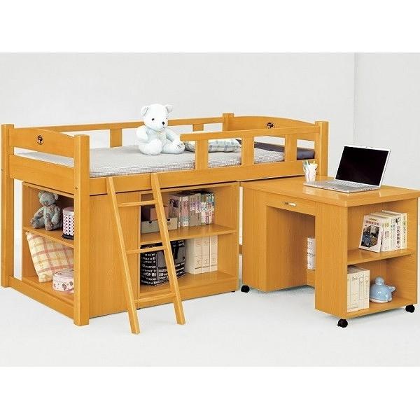 床架 高架床 MK-704-1 貝莎3.5尺檜木色多功能組合床組(含收納櫃.書桌)(不含床墊) 【大眾家居舘】