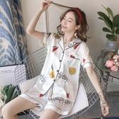 睡衣女夏季薄款短袖兩件套裝韓版家居服【小酒窩服飾】