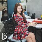 裙子【JS精心苑】韓版高腰修身格子連衣裙...