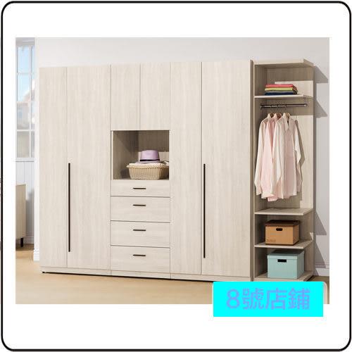 8號店鋪 森寶藝品傢俱 b-06 品味生活 臥室 系列 105-9 柏納德8.5尺組合衣櫃(全組)