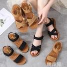 平底涼鞋 牛筋軟底一字涼鞋夏季新款鞋子百搭魔術貼韓版沙灘鞋平底女鞋 韓菲兒