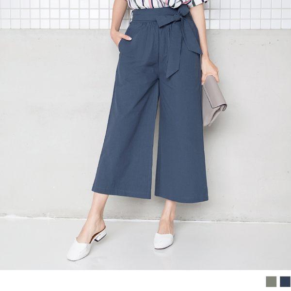 《BA4162-》附綁帶高含棉素面寬版褲 OB嚴選