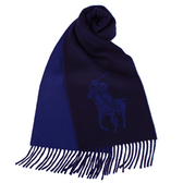 RALPH LAUREN POLO 經典大馬圖徽保暖圍巾(深藍色)780913-4