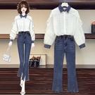 套裝兩件式3512#實拍2021春裝新款時尚蕾絲牛仔拼接上衣開叉牛仔褲套裝R04 依品國際
