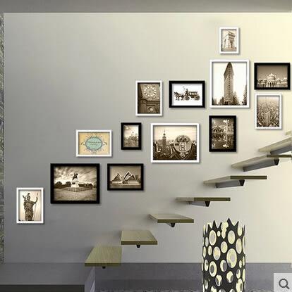 相片牆 樓梯相片相框牆 歐式家居創意掛牆相框組合