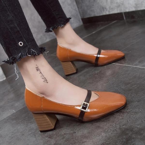 復古風奶奶鞋春英倫方頭單鞋粗跟高跟鞋淺口中跟軟皮一字扣帶女鞋 新年禮物