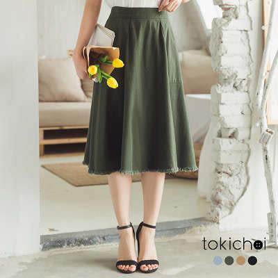 東京著衣-多色百搭抽鬚帆布傘擺裙子-S.M.L(180251)