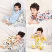 兒童睡衣夏季兒童男童純棉睡衣七分袖薄款短袖男孩小孩寶寶全棉家居服套裝-大小姐韓風館