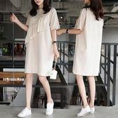 工廠批發不退換中大尺碼XL-5XL中長款休閒連身裙33437夏季新中長款短袖荷葉邊拼接寬松顯瘦連衣裙