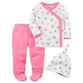 Carter's平行輸入童裝 女寶寶 側扣上衣&帽子&包腳褲子 白蝴蝶【CA126G795】