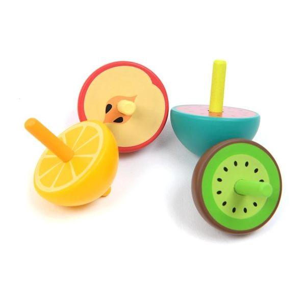 兒童彩色旋轉陀螺手動旋轉幼兒園木質玩具小陀螺『夏茉生活』