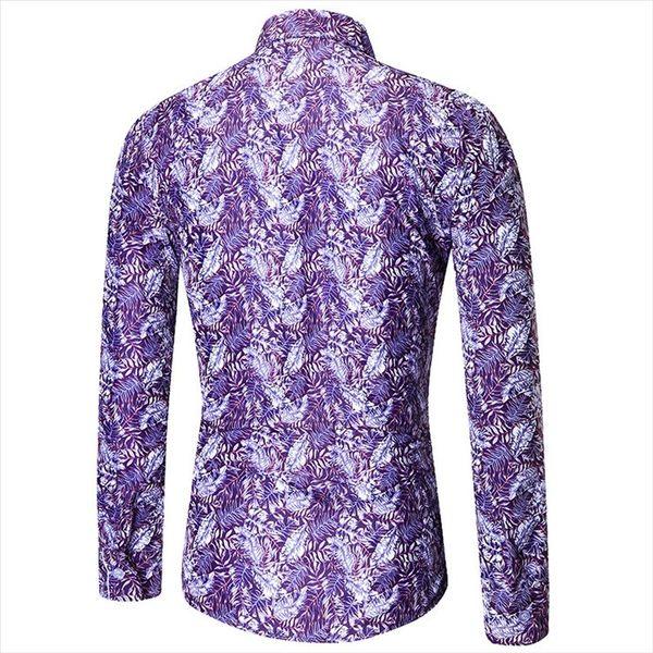 找到自己 MD 韓國 休閒 時尚 男 寬鬆大碼 翻領鈕扣 紫色 滿版 碎花 長袖襯衫 上衣 碎花襯衫