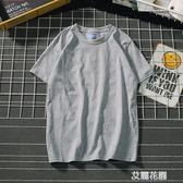 日系潮牌男裝T恤短袖衫情侶純色純棉打底衫夏季學生T恤『艾麗花園』