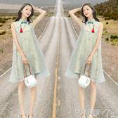 涼感旗袍中國風民國風改良唐裝女連身裙棉麻古風女裝涼感旗袍夏裝 貝兒鞋櫃