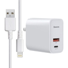Baseus倍思 風馳PPS二輸出充電器(Type-C+USB器)30W+iPhoneipad系列傳輸充電線-白色組