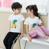 男童套裝2020年夏款洋氣兒童萊卡純棉短袖 冰絲防蚊褲2件套中大童 童趣屋