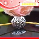 銀鏡DIY S925純銀材料配件/復古硫化染黑祥雲雕花立體如意鎖墜(穿式)~適合手作蠶絲蠟線/幸運繩