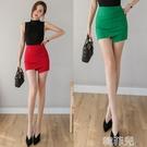 窄裙 不規則短裙褲女抽褶彈力一步裙修身包臀裙春夏新款高腰半身裙 韓菲兒