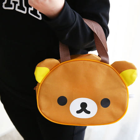 正版 拉拉熊造型手提袋 便當袋 餐具袋 拉拉熊 懶懶熊 Rilakkuma 拉鍊式 收納袋 造型手提袋