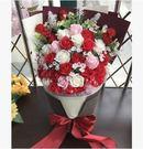 圓形花束玫瑰香皂花禮盒送女友媽媽閨蜜肥皂花生日禮物【玫紅色】