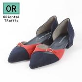 【ORiental TRaffic】潮流撞色尖楦平底鞋-潮流藍