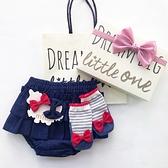 【日本製】日本製 禮品組 嬰兒 8ozDENIM 燈籠短褲 襪子 髮夾 海軍色 x 紅色 SD-1320 -