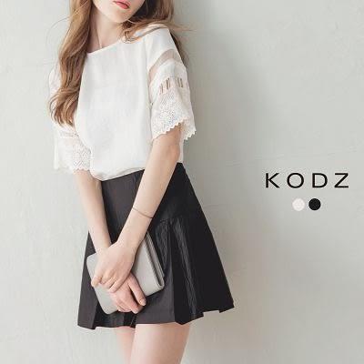 東京著衣【KODZ】素色打褶傘襬短裙-S.M(6008020)