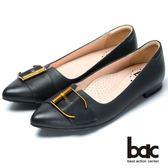 ★2018春夏新品★bac經典時尚金屬皮帶裝飾低跟鞋(黑色)