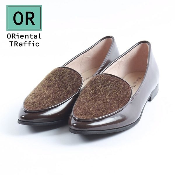 【ORiental TRaffic】時髦異材拼接樂福鞋-溫潤咖