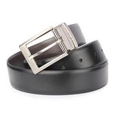 Calvin Klein 質感金屬LOGO穿式雙色皮帶(黑色/咖啡色)103477-1/-2