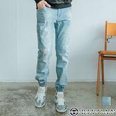 【OBIYUAN】牛仔褲 淺洗色 刷破 束口 獨家單寧長褲 共1色【P8291】