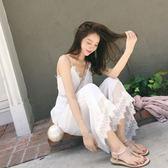 沙灘裙女夏白色蕾絲花邊長裙闊腿褲