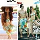 海洋綠色花朵 鋼圈泳裝+紗龍 (不含男生沙灘褲) 比基尼 泳衣 橘魔法 magic G 現貨 泳裝 比基尼