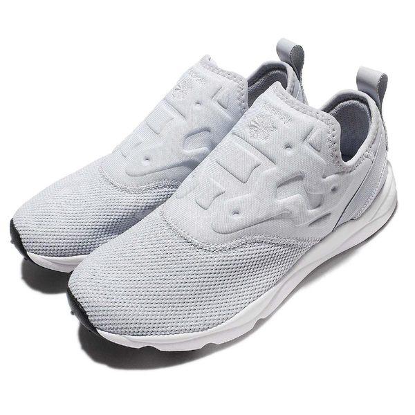 Reebok 休閒慢跑鞋 Furylite Slip On HK 藍 白 武士鞋 Pump 運動 復古 女鞋【PUMP306】 AR2410