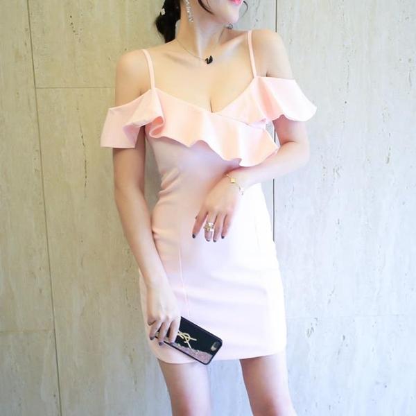 [超豐國際]夏季度假性感吊帶荷葉邊V領修身顯瘦高腰包臀連衣裙1入
