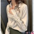 熱賣垂感襯衫 長袖襯衫女2021春裝新款設計感小眾絲綢光澤垂感襯衣氣質百搭上衣 coco