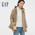 Gap女裝休閒寬鬆式按扣連帽外套541546-卡其色