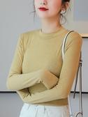半高領打底衫女常規羊絨棉初秋薄款中長袖秋冬文藝純色內搭t恤女 貝芙莉
