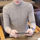 針織外套 男士半高領毛衣冬裝韓版加厚線衫保暖針織衫毛線衣潮流打底衫外套 polygirl