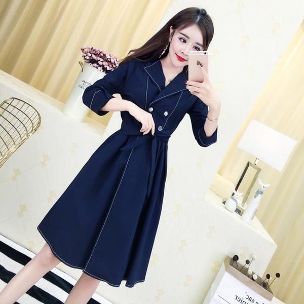 2018秋裝新款女裝韓版氣質西裝領雙排扣七分袖高腰開叉風衣洋裝