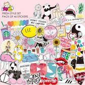 46張卡通可愛女性貓狗貼畫小清新旅行箱筆記本電腦行李箱貼紙防水 全館85折