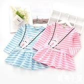 女童秋裝連衣裙新品上市新款正韓兒童小兔子長袖裙子可愛寶寶條紋短裙