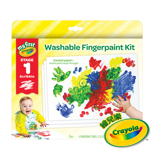 美國Crayola繪兒樂 幼兒可水洗手指畫顏料4色組(紅/黃/藍/綠)