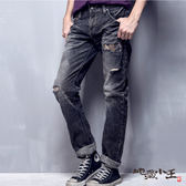 【專櫃新品】刷破迷彩火焰低腰直筒褲(灰黑) - BLUE WAY  地藏小王